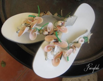 "White  Leather sandals with shells/ Wedding sandals/flip flops  ""Seaside"""