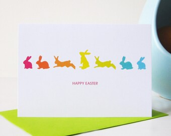 Easter gifts and decorations etsy rabbits happy easter card happy easter card easter card rabbits card pack negle Images