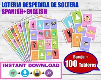 Lotería Despedida de soltera. Juego despedida de soltera. Inglés-Español para imprimir. Archivo PDF. Printable Spanish Bingo Bridal Shower.