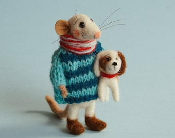 Needle felted Mouse with dog. Miniature felted puppy. Dollhouse animals. Dollhouse mouse. Ornament. Tiny dog. Felt mouse. Felting dreams