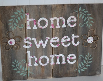 Home sweet home, rustic wooden sign