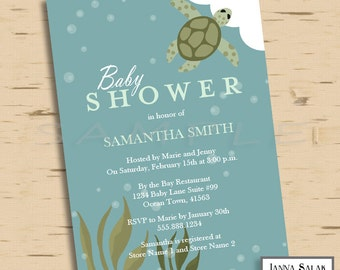 Diy turtle pdf etsy printable ocean theme baby shower invitation sea turtle blue and green 5x7 invite diy instant download filmwisefo