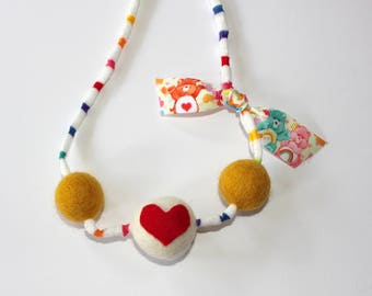 Tender Heart Felted wool Ball Necklace