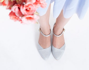 Silver Non leather bridal shoes / vegan bridal sandals / low heel wedding shoes/ beautifully silver shoes/ high quality & comfortable/ I do!