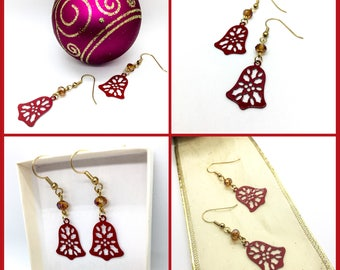 Holiday Bell Charm Dangle Earrings