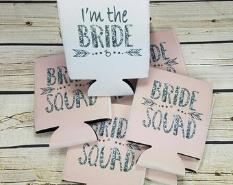 bride squad bachelorette party can cooler favors  / bachelorette party can coolers / bride squad can coolers