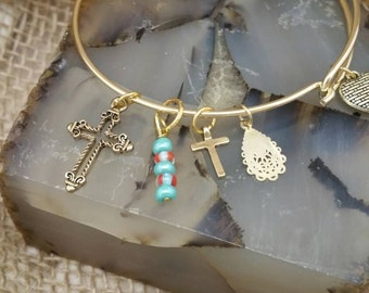 Gold Cross and Heart Bangle