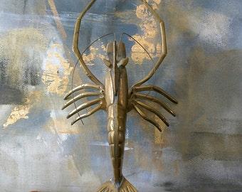 Vintage Brass Mid-Century Lobster / Hollywood Regency Brass Crayfish / Beach Brass Sea Life Crustacean