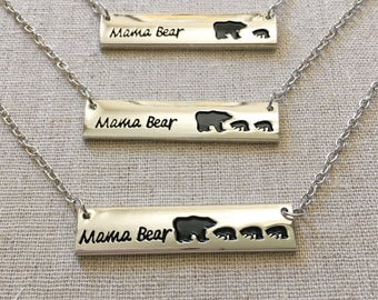 Mama Bear Necklace, Silver Bar Necklace, Gold Bar Necklace, Dainty Necklace, Delicate Necklace, Bridesmaid gift, Birthday gift