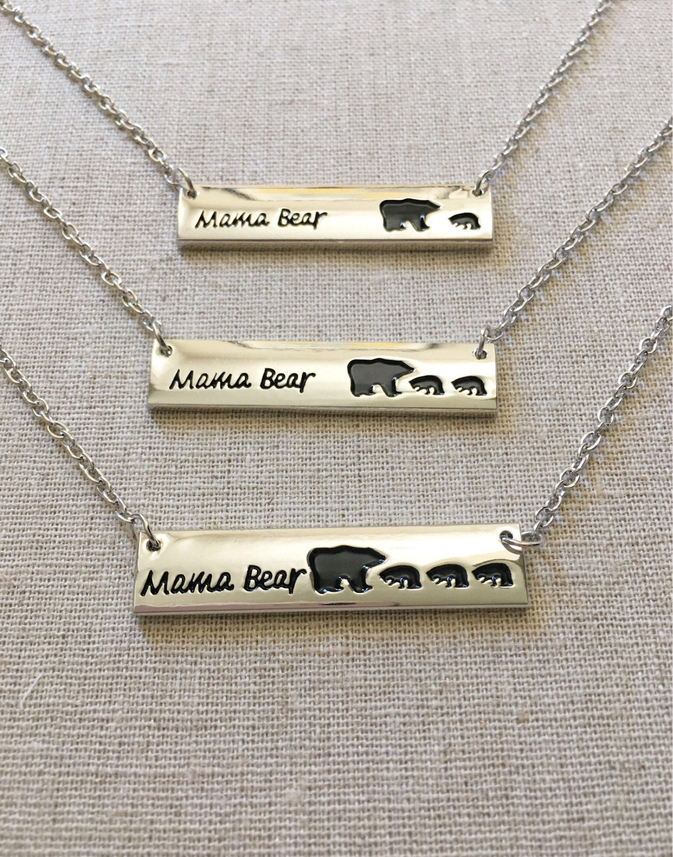 kids baby mother simple engraved mama silver animal love fashion necklace pendant wholesale product tag bear
