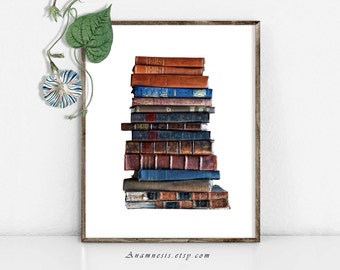 Old Books Print - STACK of OLD BOOKS - Instant Download - printable vintage photograph for framing, totes, t-shirts, crafts, library decor