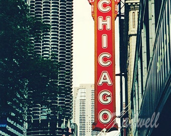 Chicago Photography Chicago Theatre Sign Fine Art Photography, Chicago Photo Travel Print, Urban Illinois, Midwest City Street, Vintage Sign