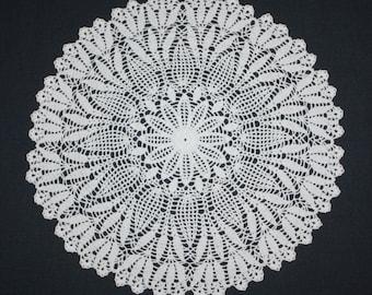 Large Crochet Doily, Pineapple Crochet Doily, Lace Flower Doily, Cotton Doily, Crochet Centerpiece, Table Topper 15 inches