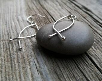 Silver fish earrings, Argentium silver wire fish earrings