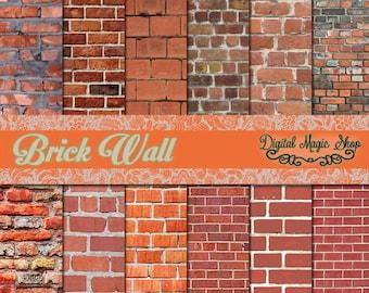 12 Brick Wall Backgrounds - Digital Scrapbook Papers -  Instant Download