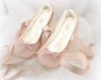 Wedding Shoes Blush Ballet Flats Ballet Slippers Pink Faux Leather Flats Blush Flats Ballerina Slippers Rose Ballet Flats Bridal Shower