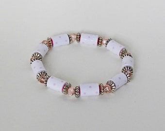 Handmade Paper Bead Bracelet - Dainty Pink Dotted Swiss