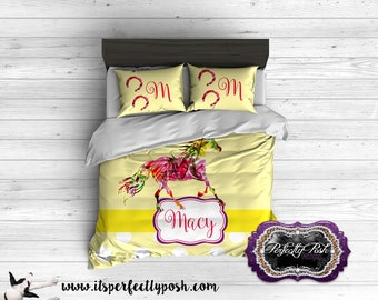 Rainbow Horse Theme  Bedding Custom Design and Personalized Comforter or Duvet with Monogram