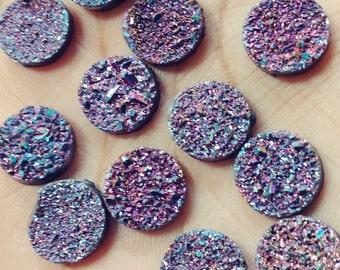 Purple rainbow titanium 12mm -13mm faux druzy cabochons - 10pcs