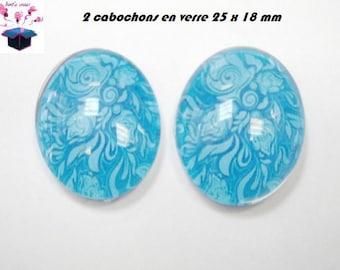 2 cabochons glass 25mm x 18mm theme fabrics