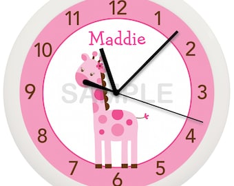 Pink Giraffe Personalized Nursery Wall Clock