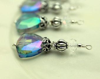 Vintage Style Green Peacock AB Triangle Crystal Bead Dangle Charm Drop Pendant Set
