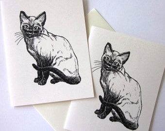 Siamese Cat Note Cards Stationery Set of 10 Cards