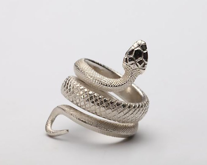 Silver Snake Ring | Viper Serpent Ring | 925 Sterling Silver Fashion Ring | Snake Jewelry for Men and Women | Tribal Ring | Animal Ring