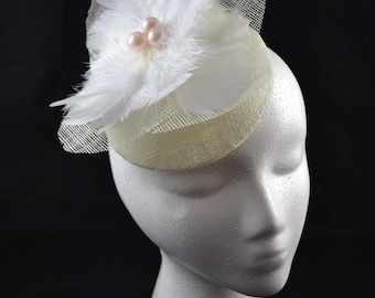 White fascinator with pearls & feathers