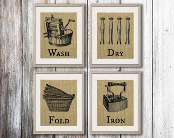 Wash Dry Fold Iron - Set of 4 Burlap Prints - Laundry Room Decor - Laundry Room Wall Decor - Wash Dry Fold Sign - Laundry Room Wall Art