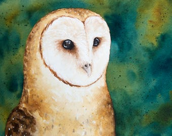 Watercolor Barn Owl, Watercolor Owl, Standard Art Print, Owl Painting, Owl Artwork, Watercolor Painting, Watercolor, Owl, Barn Owl