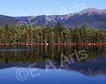 Daicey Pond Mt Katahdin Baxter State Park Maine Panoramic Color Art Print by Maine Photographer Paul Vose