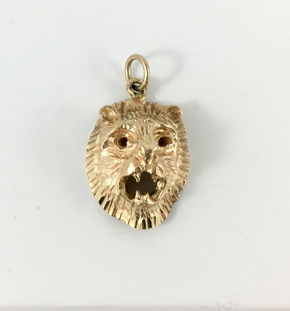 Vintage lion head pendant 10k gold lions head charm or aloadofball Choice Image