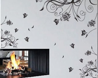 Flower Butterfly Wall Art / Wall Stickers / Wall Decals from AmazingSticker