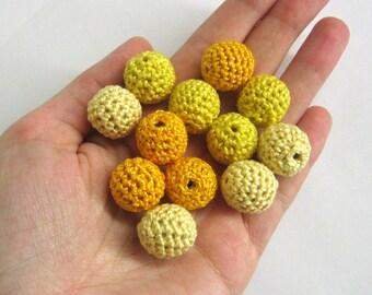 Crocheted beads 16 mm - round handmade beads in yellow, 12 pc