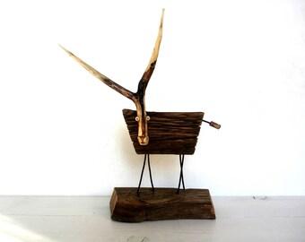 Wood sculpture, Anniversary gift, Zodiac Capricorn, Animal wood Sculpture, Office decor, Desktop sculpture, Wood tabletop, Minimalist Decor