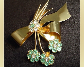 Coro Blue Floral Signed 1950s Brooch Pin Missing Rhinestone