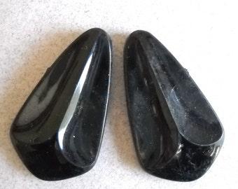 Large Diamond Bead Pendant, Black Rare Teardrop Bead, Beautiful Jet Black Pendant, Retro Bead, 2