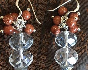 Crystal and goldstone earrings
