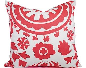 Coral Throw Pillows - Salmon Suzani Decorative Throw Pillows - Couch Pillows - Coral Pillow - Coral Pillow Cover