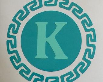Circle Aztec Monogram Turquoise and Mint Yeti Vinyl Sticker Car Decal Personalize Custom