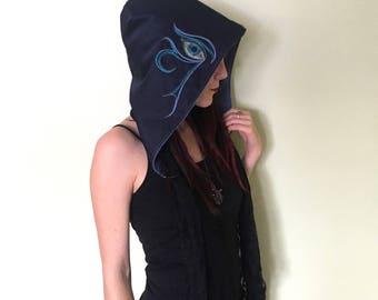 Eye of Horus Hood Egyptian Symbol Magic Hoods Festival Hood Wearable Art Burning Man Clothing Hippie Hoods OOAK