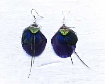 ARIZONA Mini Purple Peacock Feather Boho and Green Feather Earrings