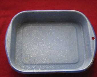 Blue Enamelware Pan,Vintage