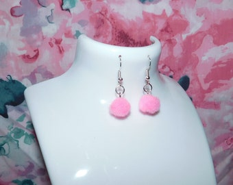 Pink Pom Pom earrings/Pom Poms/pink earrings/pink Pom Poms/handmade earrings/gift/Pom Pom earrings/boho/pink/handmade/earrings