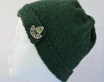 Forest Green Beanie, Green Cloche, Button Brim Hat, Hand Knit Beanie, Button Hat, Teen Beanie, Womens Hat, Knitted Hat