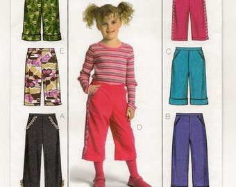 "A Pull-On Pants with Length, Hemline and Trim Variations Pattern for Children: Uncut - Sizes 2-3-4-5, Waist 20"" - 21-1/2"" ~ Butterick 4845"