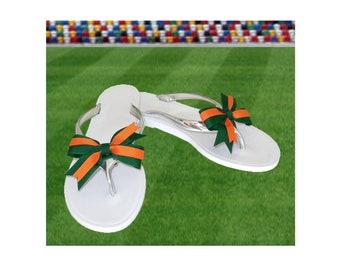 Orange + Green Bow Jelly Sandals