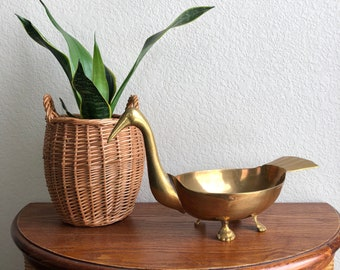 vintage brass bird bowl with feet