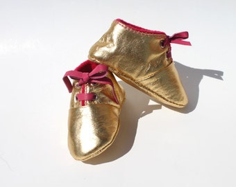 3 - 6 Months Slippers / Baby Shoes Lamb Golden Glitter Dore pink